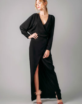 AQAQ Marvey Low Plunge Maxi Dress