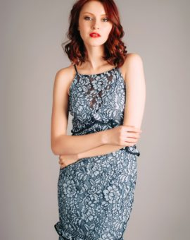 Hyr Keepsake Floral Lace Midi Dress