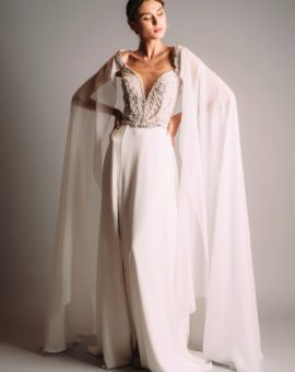 Hyra klänning Terani Couture White Dress with Cape Sleeves