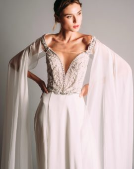 Terani Couture White Dress with Cape Sleeves