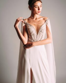 Terani Couture White Gown with Cape Sleeves