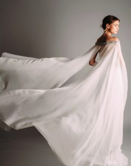 Hyr Terani Couture White Dress with Cape Sleeves