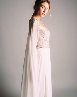 Rent Terani Couture White Dress with Cape Sleeves