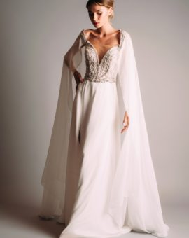 Hyra brudklänning Terani Couture White Dress with Cape Sleeves