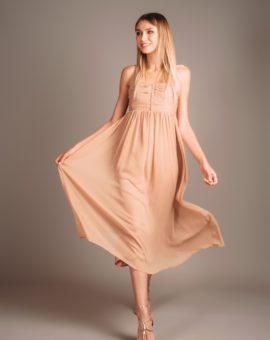 Hyr Zoul Beige Midi Dress