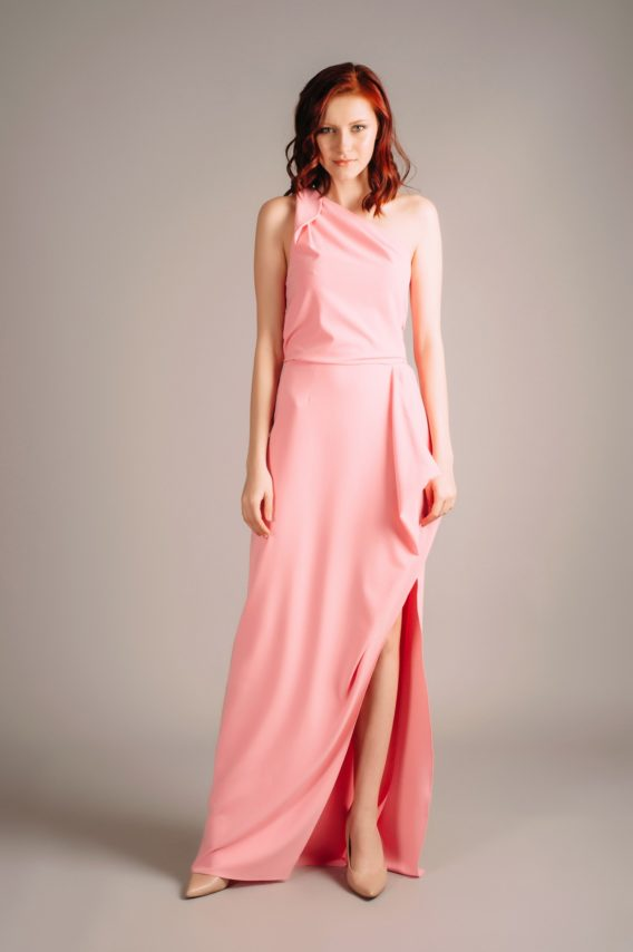 Halston Heritage Pink Asymmetric Draped Gown
