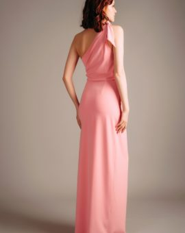 Hyr Halston Heritage Pink Asymmetric Draped Gown