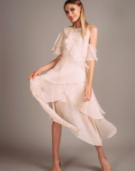 Rent Keepsake nude ruffle gown