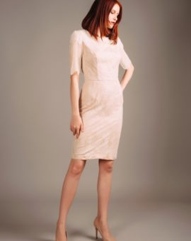 Hyra Carmen Marc Valvo Nude Lace Dress