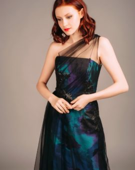 Hyra festklänning Theia Couture Turquoise Draped Gown