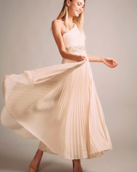 Sue Wong Beige Pleated Skirt Dress