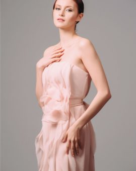 Rent Vera Wang Pink Vertical Ruffle Dress