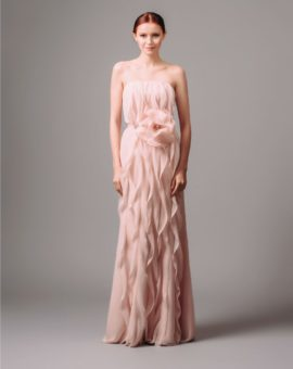 Vera Wang Pink Vertical Ruffle Dress