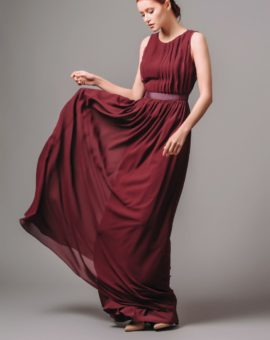 Rent By Malina wine red long evening dress
