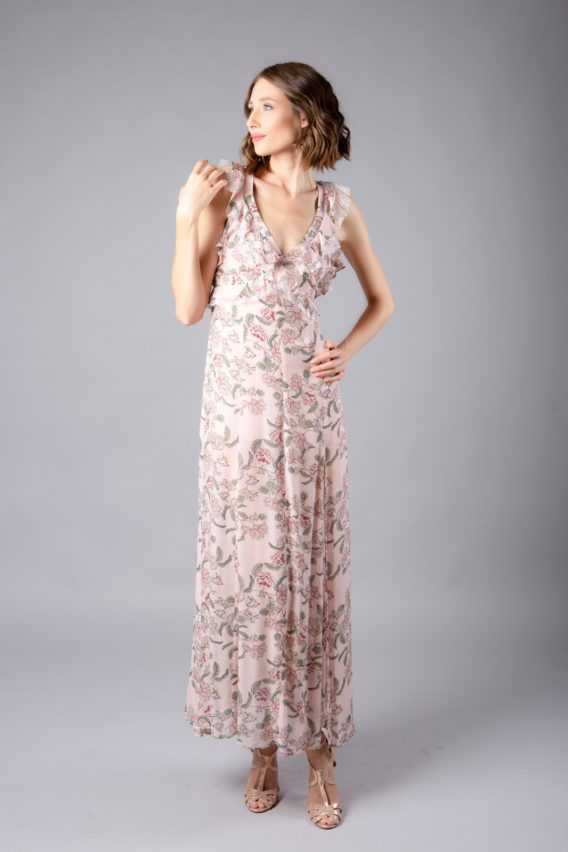 For Love and Lemons Bee Balm floral Maxi dress