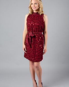 Hyra Red Anthropologie sequin short dress