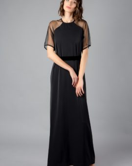Hyra Solace London Black Manet Organza Sheer Dress