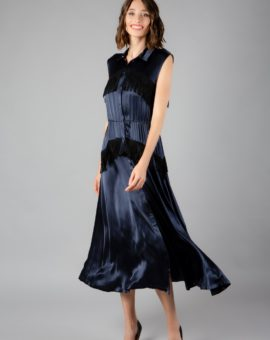 Donnelly Satin dark blue fringe dress