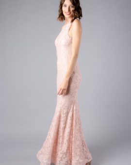 AQUA Pink Lace Mermaid Gown