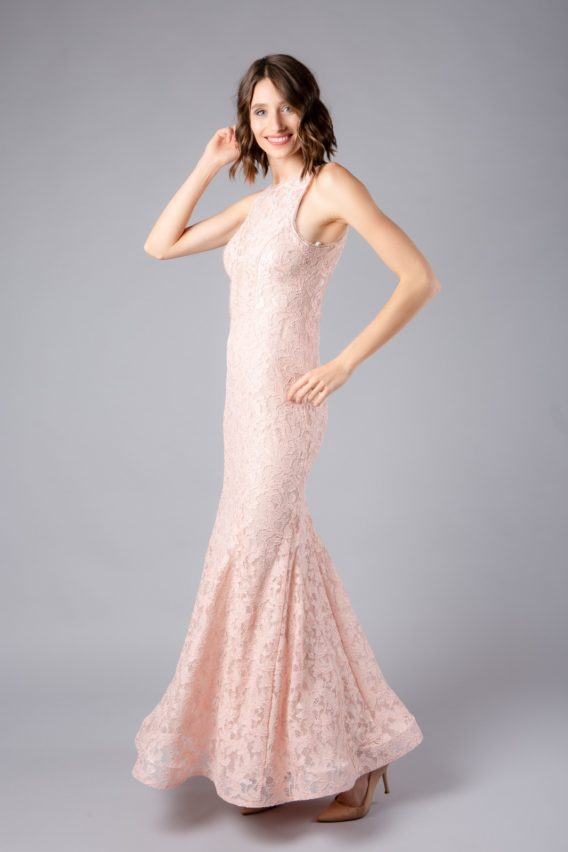 Hyr a AQUA Pink Lace Mermaid Gown