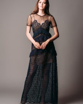 Rent Self-Portrait Lace Panel Croche Maxi Dress