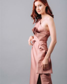 Rent Keepsake Pink Retrograde One-shoulder Midi Dress