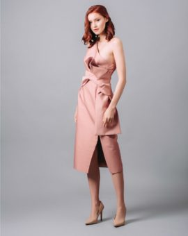 Keepsake Pink Retrograde One-shoulder Midi Dress