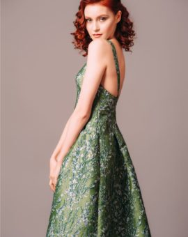 HM Conscious Exclusive Green Jacquard Gown