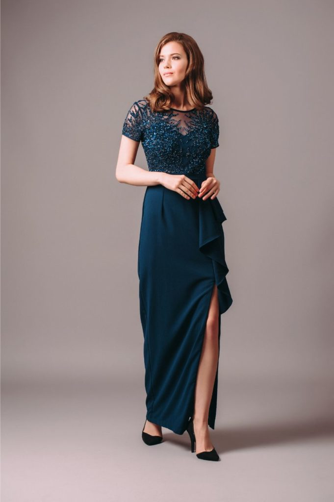 Adrianna Papell Beaded Deep Blue Short Sleeve Gown