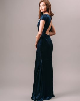 By Malina Short Sleeve Open Back Navy Dress