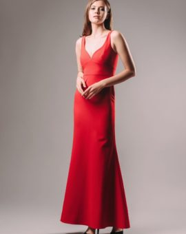 Jill Jill Stuart Red V-neck Sheath Gown