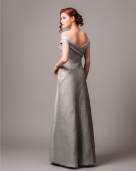 Aidan Mattox Silver Shimmer Off-Shoulder Gown