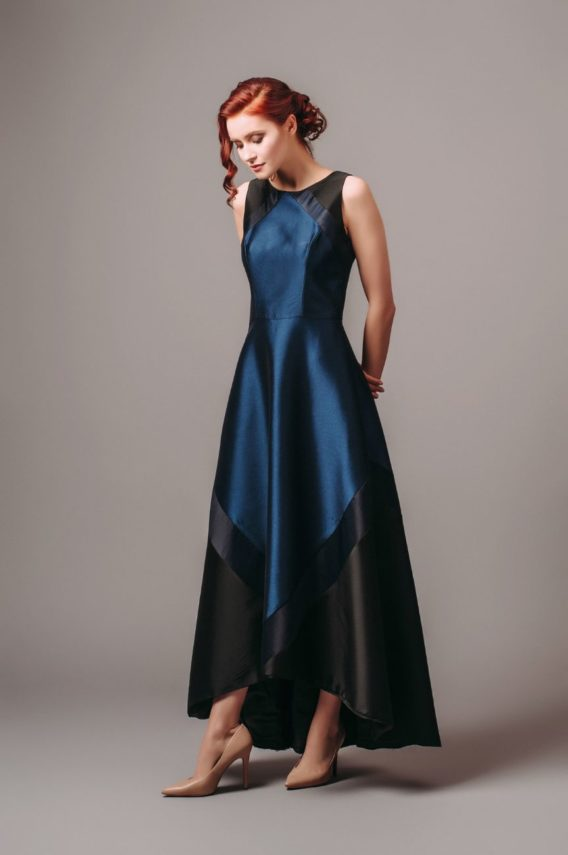 Theia Couture Navy Black Sleeveless Gown