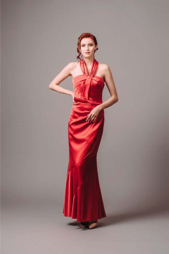 Karen Millen Red Satin Halterneck Gown