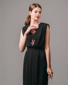 Rent Raoul Black Silk Lace Dress