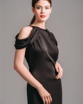 Hyra Hyra Dave and Johnny Black Cold-Shoulder Ball Gown