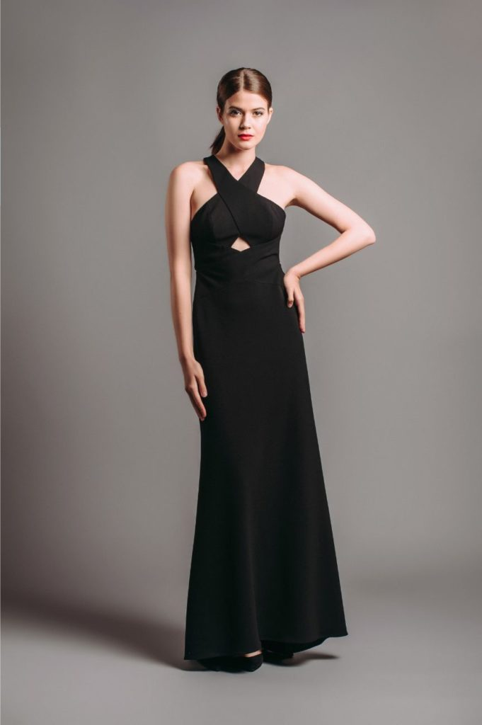 BCBG Salome Cut-out Black Halter Gown