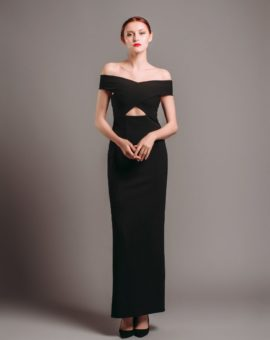 Solace London Black Cut-out Gown