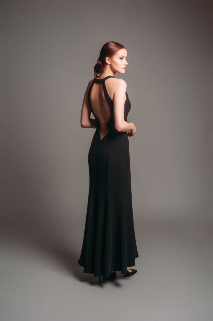 Theia Couture Illusion Open Back Black Gown