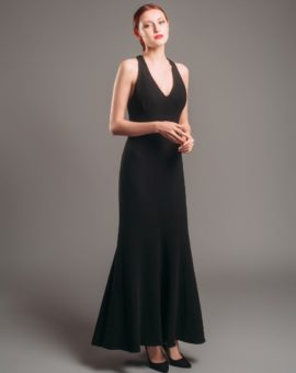 Rent Theia Couture Illusion Open Back Black Gown
