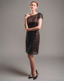 hoss Intropia Embroidered Sequin Black Dress