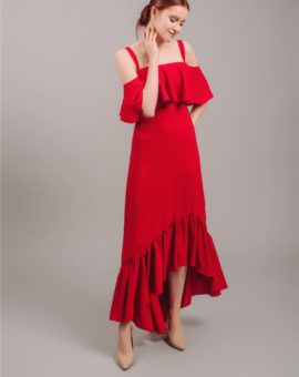 Rent Jill Jill Stuart Red Cold-Shoulder Flounce Gown