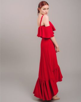 Jill Jill Stuart Red Cold-Shoulder Flounce Gown