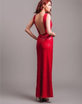 Hyra aftonklänning Jenny Packham Red sleeveless sequin gown