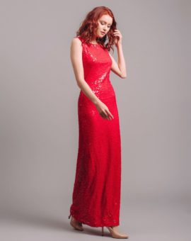 Jenny Packham Red sleeveless sequin gown
