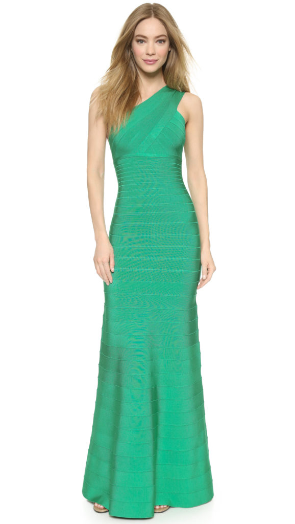 Herve Leger Green One Shoulder Bandage Llyanna Gown